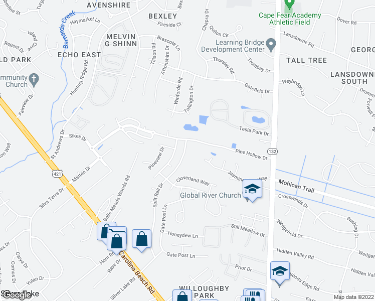 map of restaurants, bars, coffee shops, grocery stores, and more near 4507 Split Rail Drive in Wilmington