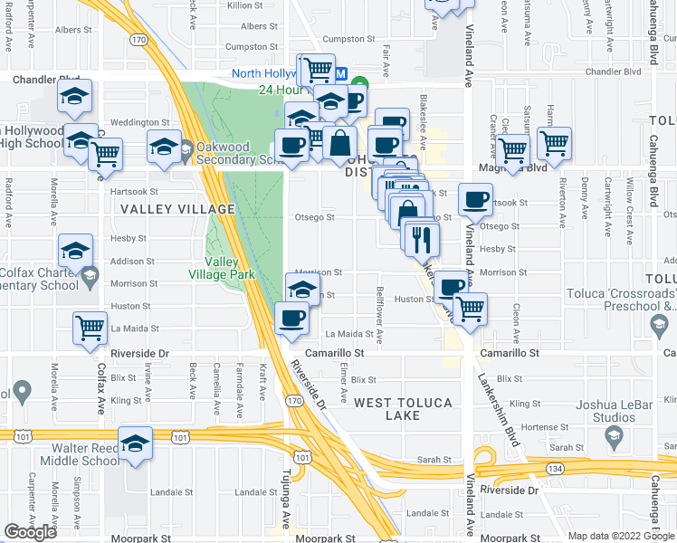 map of restaurants, bars, coffee shops, grocery stores, and more near 11265 Morrison St in Los Angeles