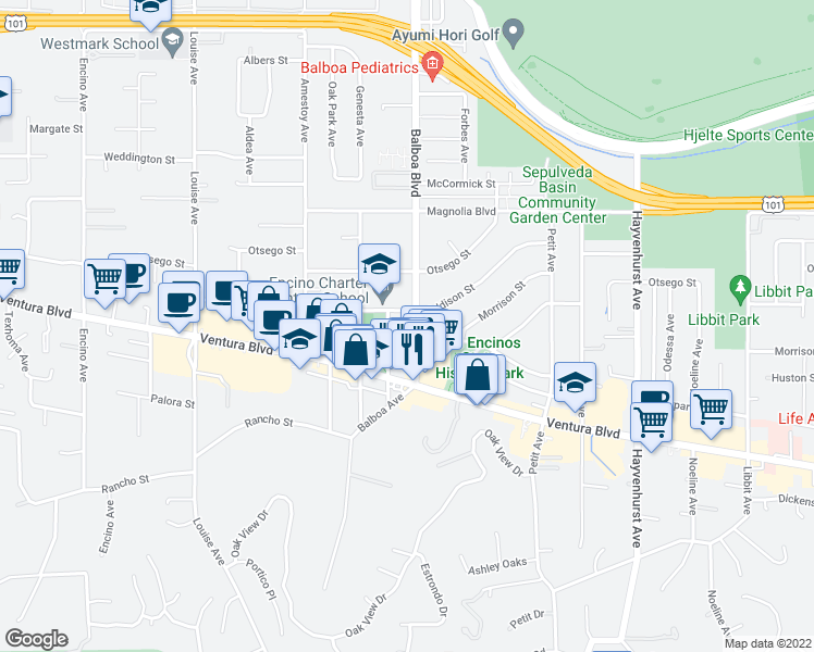 map of restaurants, bars, coffee shops, grocery stores, and more near 4963 Balboa Blvd in Los Angeles