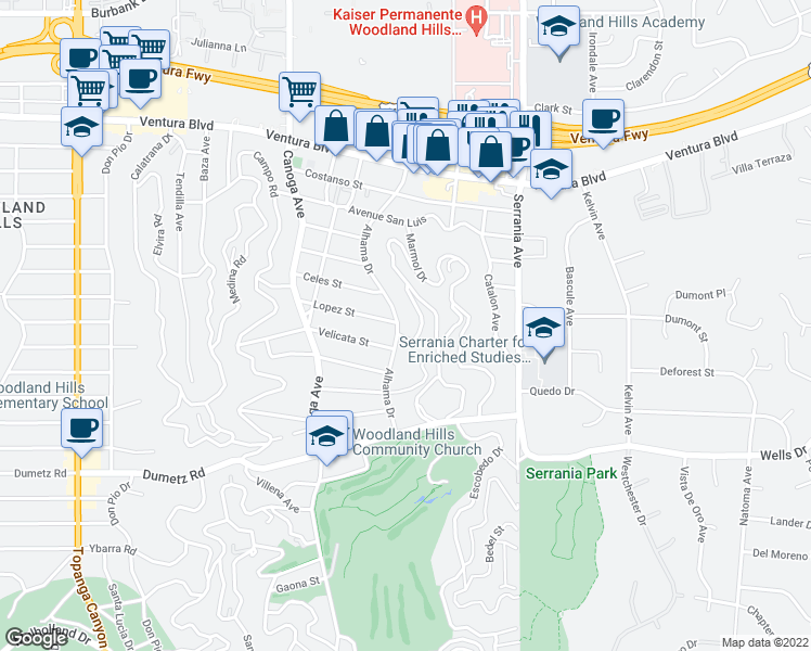 map of restaurants, bars, coffee shops, grocery stores, and more near 5100 Alhama Dr in Los Angeles
