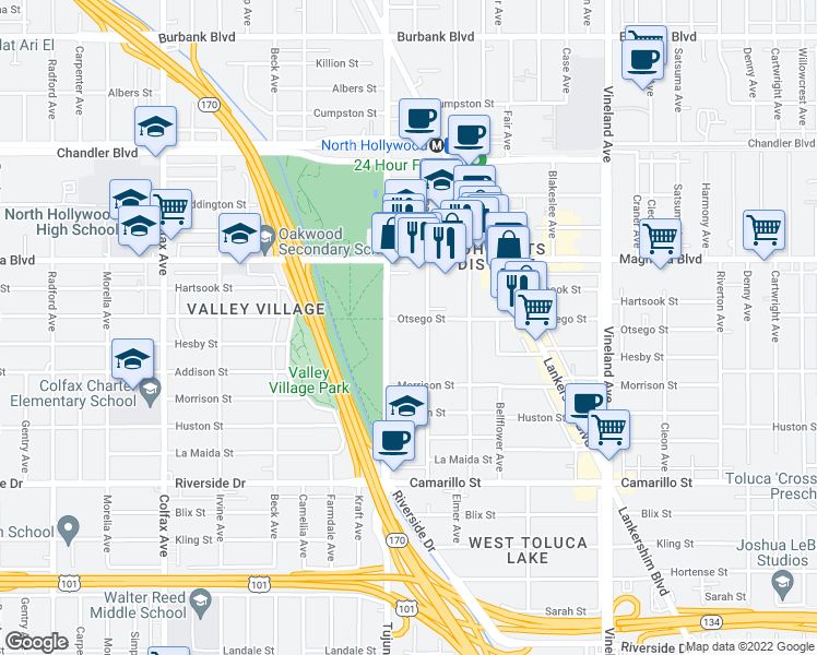 map of restaurants, bars, coffee shops, grocery stores, and more near 5050 Tujunga Ave in Los Angeles