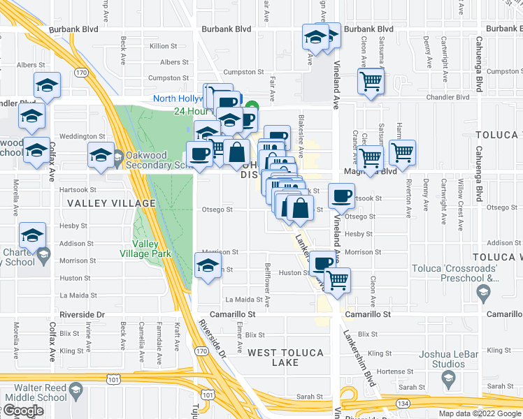 map of restaurants, bars, coffee shops, grocery stores, and more near 5058 Klump Ave in Los Angeles