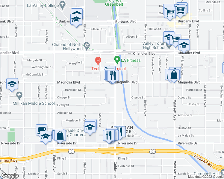 map of restaurants, bars, coffee shops, grocery stores, and more near 12910 Magnolia Boulevard in Los Angeles
