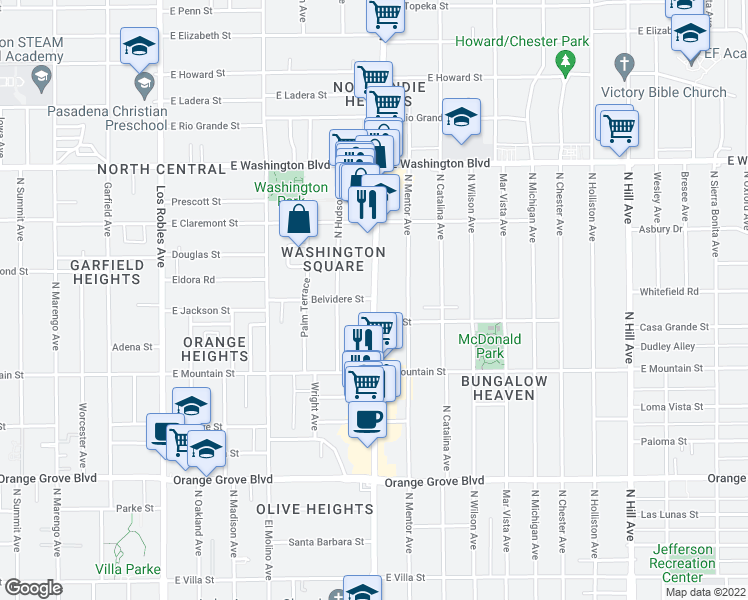 map of restaurants, bars, coffee shops, grocery stores, and more near 1045 North Lake Avenue in Pasadena