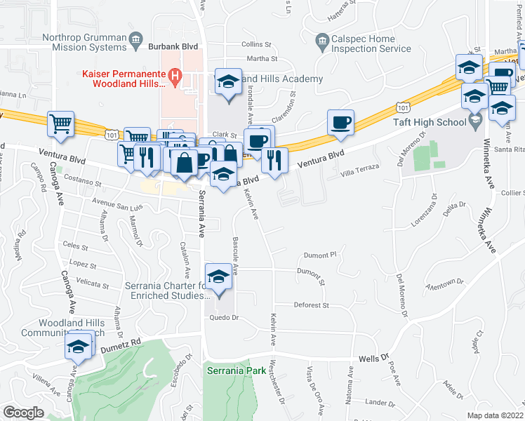 map of restaurants, bars, coffee shops, grocery stores, and more near 5202 Kelvin Avenue in Woodland Hills