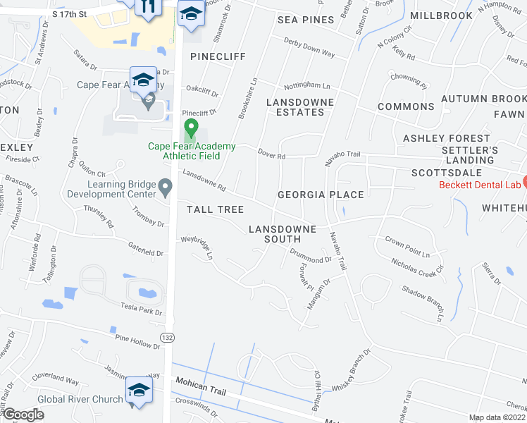 map of restaurants, bars, coffee shops, grocery stores, and more near 306 Lansdowne Road in Wilmington