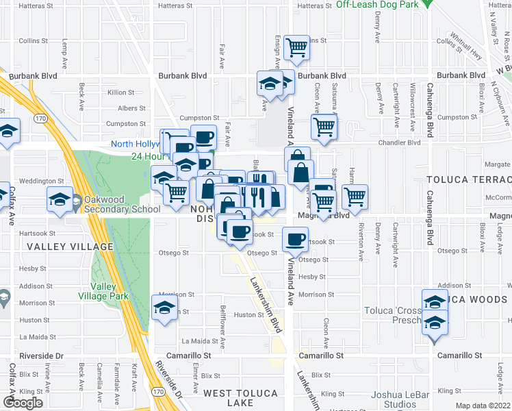 map of restaurants, bars, coffee shops, grocery stores, and more near 5225 Blakeslee Avenue in Los Angeles