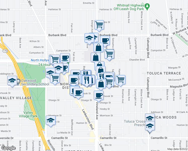 map of restaurants, bars, coffee shops, grocery stores, and more near 11021 Weddington Street in Los Angeles
