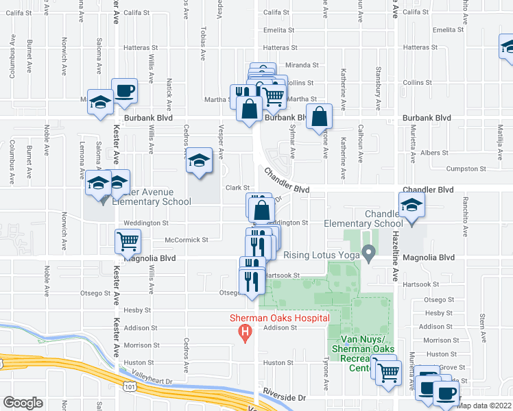 map of restaurants, bars, coffee shops, grocery stores, and more near Van Nuys Blvd & Margate St in Los Angeles