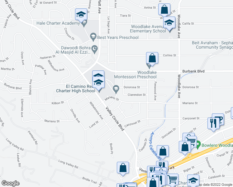 map of restaurants, bars, coffee shops, grocery stores, and more near 5401-5499 Manton Ave in Los Angeles