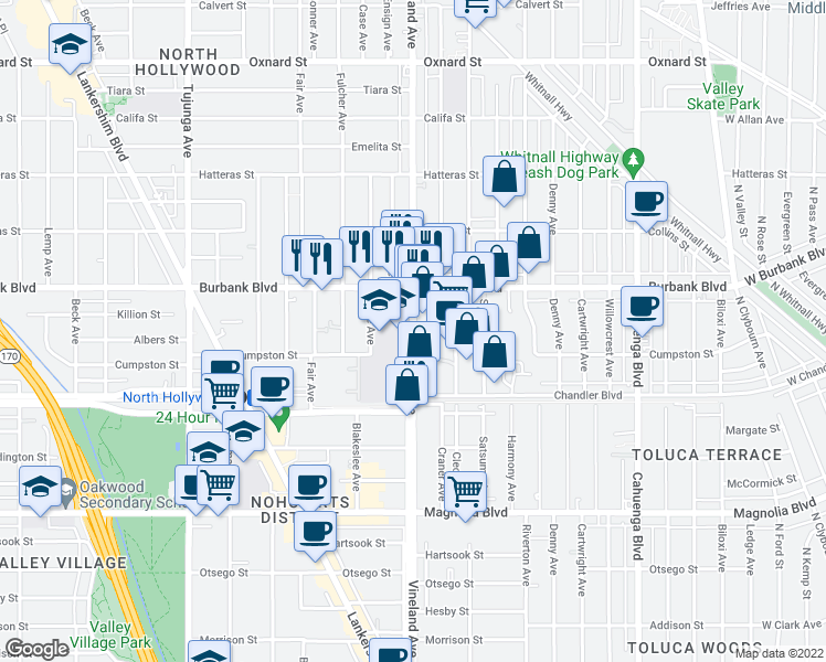 map of restaurants, bars, coffee shops, grocery stores, and more near 5545 Vineland Ave in Los Angeles