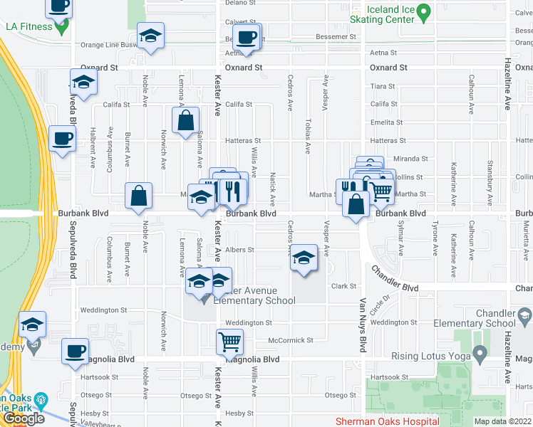 map of restaurants, bars, coffee shops, grocery stores, and more near 14755 Killion Street in Los Angeles