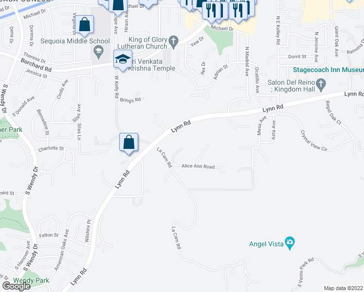 map of restaurants, bars, coffee shops, grocery stores, and more near 2435 Alice Ann Road in Thousand Oaks