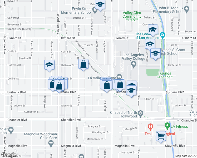 map of restaurants, bars, coffee shops, grocery stores, and more near Varna Ave & Collins St in Los Angeles