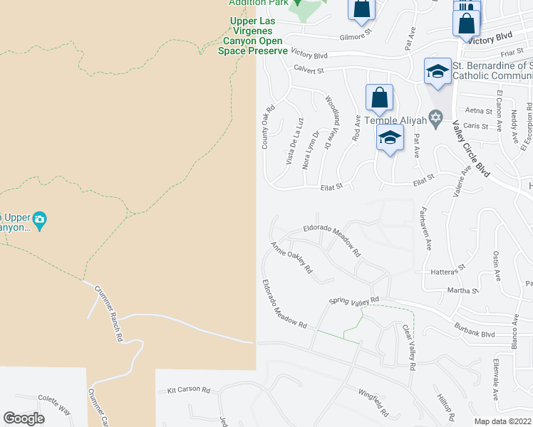 map of restaurants, bars, coffee shops, grocery stores, and more near 5840 Annie Oakley Road in Hidden Hills