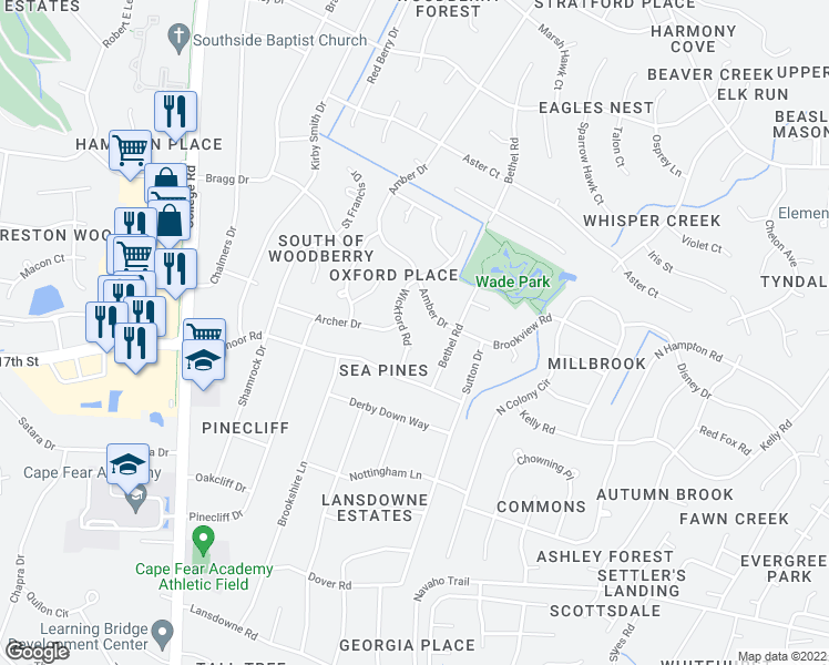 map of restaurants, bars, coffee shops, grocery stores, and more near 3205 Wickford Road in Wilmington