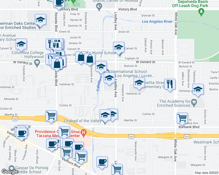 map of restaurants, bars, coffee shops, grocery stores, and more near 18132 Califa Street in Los Angeles