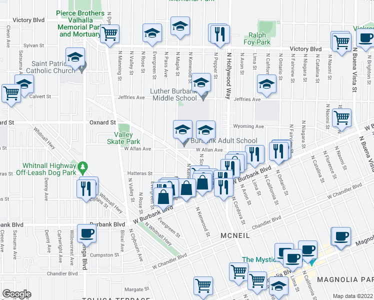 map of restaurants, bars, coffee shops, grocery stores, and more near 3811 W Allan Ave in Burbank