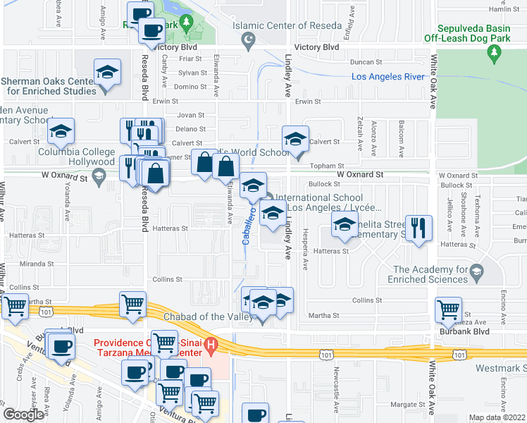 map of restaurants, bars, coffee shops, grocery stores, and more near 5955