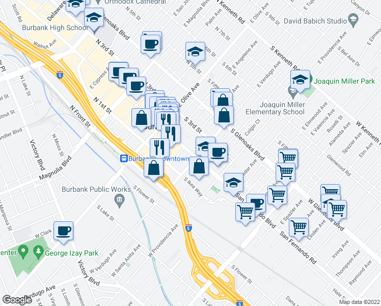 map of restaurants, bars, coffee shops, grocery stores, and more near 319 South San Fernando Boulevard in Burbank