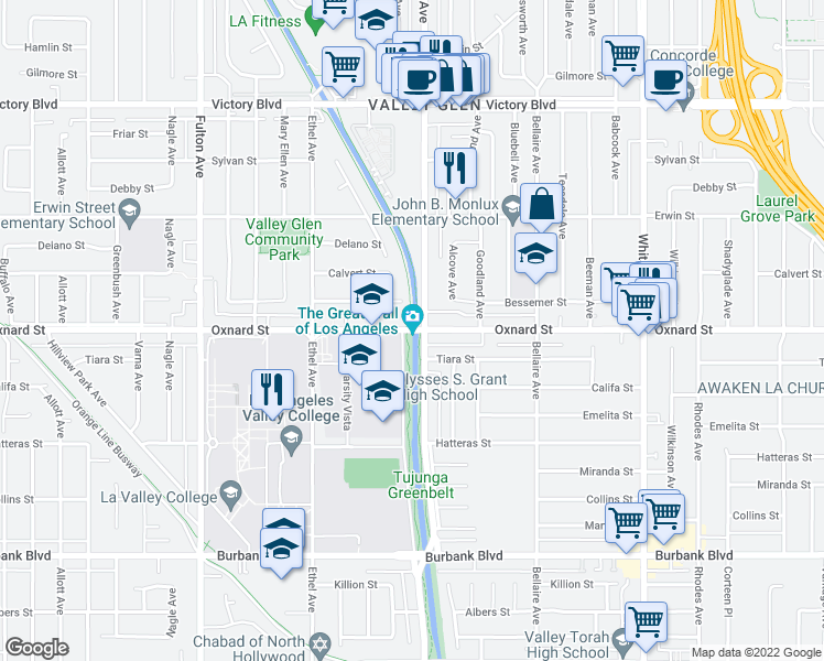 map of restaurants, bars, coffee shops, grocery stores, and more near Lancer Ln in Los Angeles