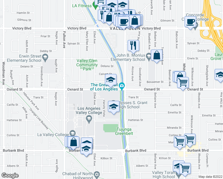 map of restaurants, bars, coffee shops, grocery stores, and more near 12932-12998 Oxnard St in Los Angeles