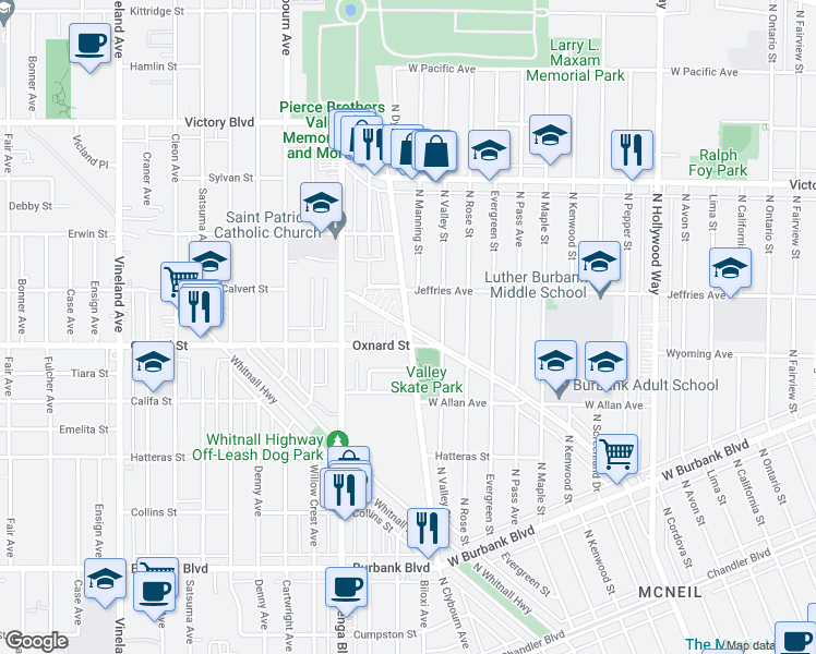 map of restaurants, bars, coffee shops, grocery stores, and more near 1700-1730 Clybourn Avenue in Los Angeles