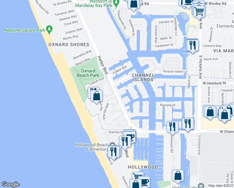 map of restaurants, bars, coffee shops, grocery stores, and more near Harbor Blvd & Costa De Oro in Oxnard