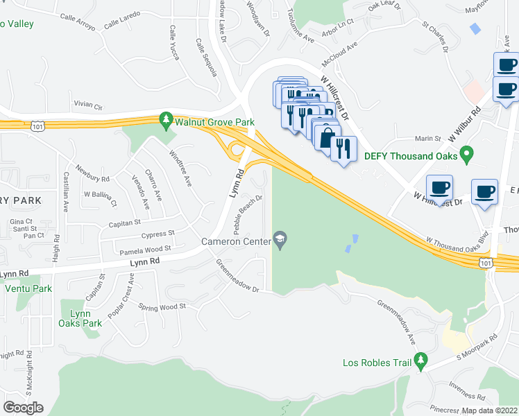 map of restaurants, bars, coffee shops, grocery stores, and more near 357 Cherry Hills Court in Thousand Oaks