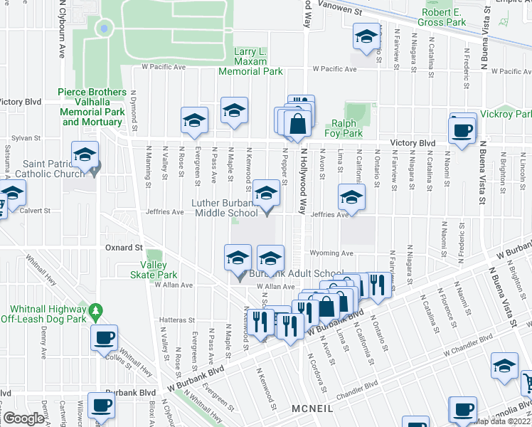 map of restaurants, bars, coffee shops, grocery stores, and more near 3700 W Jeffries Ave in Burbank
