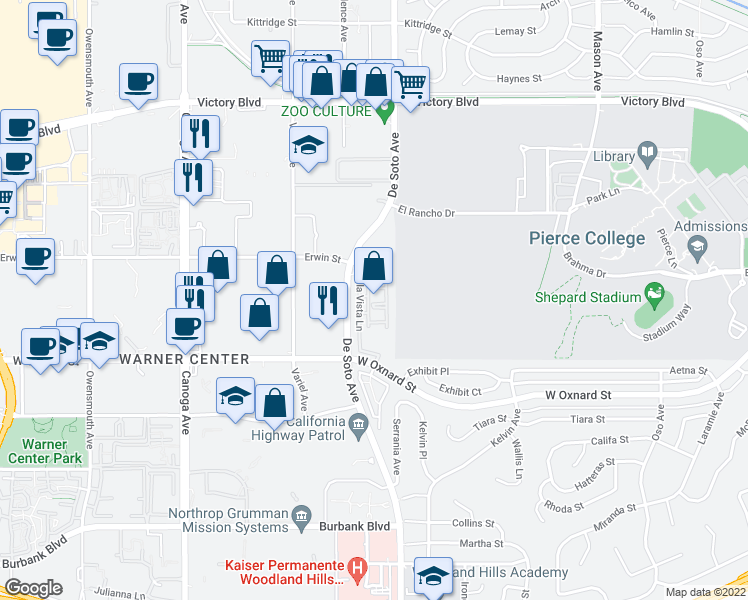 map of restaurants, bars, coffee shops, grocery stores, and more near 6150 De Soto Avenue in Los Angeles