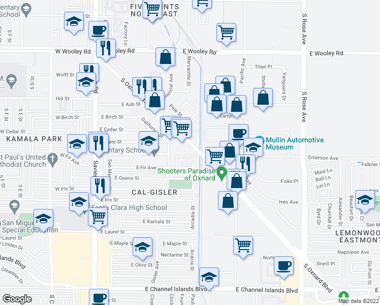 map of restaurants, bars, coffee shops, grocery stores, and more near 1664 S Oxnard Blvd in Oxnard