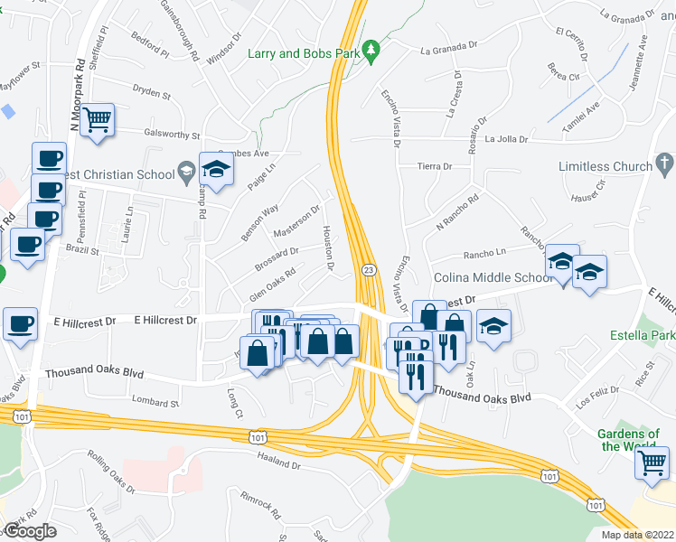 map of restaurants, bars, coffee shops, grocery stores, and more near 907 Bower Way in Thousand Oaks
