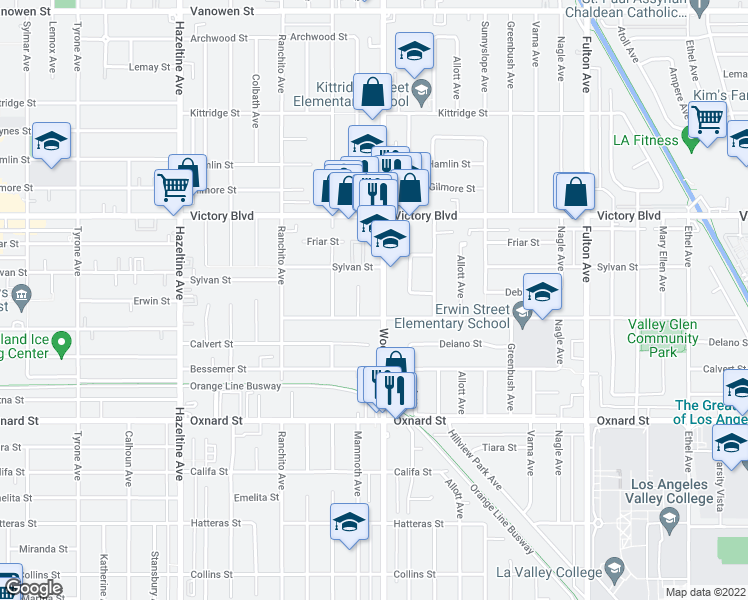 map of restaurants, bars, coffee shops, grocery stores, and more near 13701-13749 Erwin Street in Los Angeles