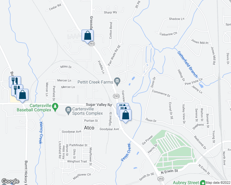 map of restaurants, bars, coffee shops, grocery stores, and more near 119 Faireview Drive Southeast in Cartersville