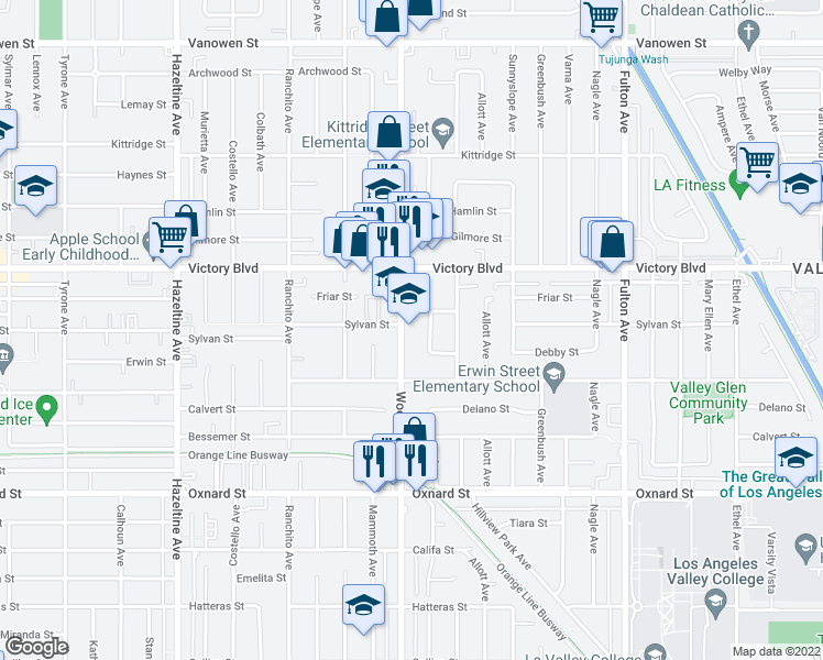 map of restaurants, bars, coffee shops, grocery stores, and more near 6308 Woodman Avenue in Los Angeles