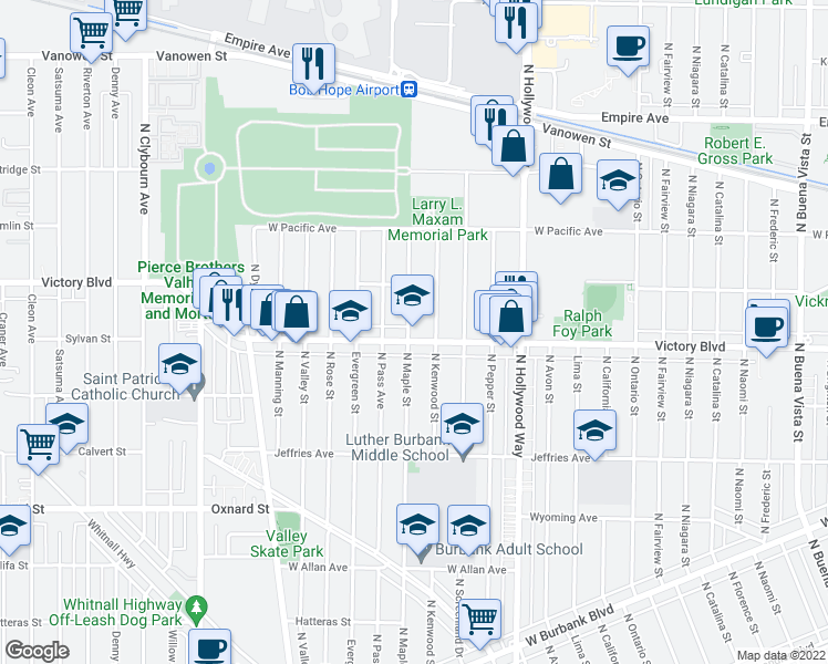 map of restaurants, bars, coffee shops, grocery stores, and more near 3813 West Victory Boulevard in Burbank