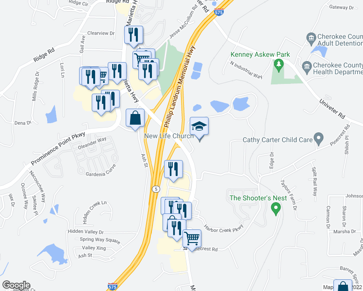map of restaurants, bars, coffee shops, grocery stores, and more near Holly Springs Parkway in Holly Springs