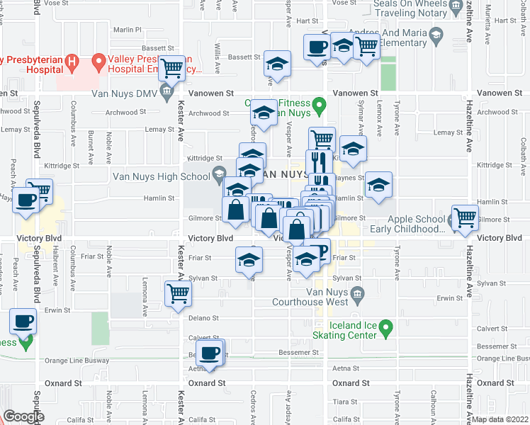 map of restaurants, bars, coffee shops, grocery stores, and more near 14633 Gilmore St in Los Angeles