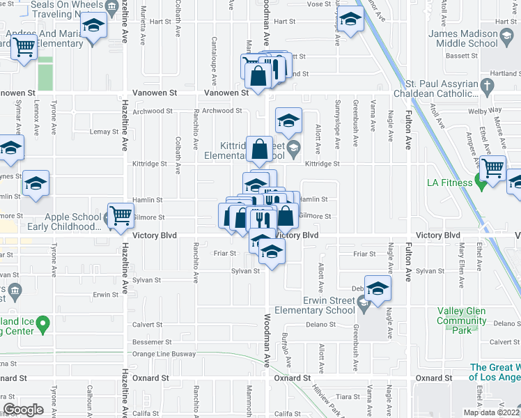 map of restaurants, bars, coffee shops, grocery stores, and more near 6450 Woodman Ave in Los Angeles