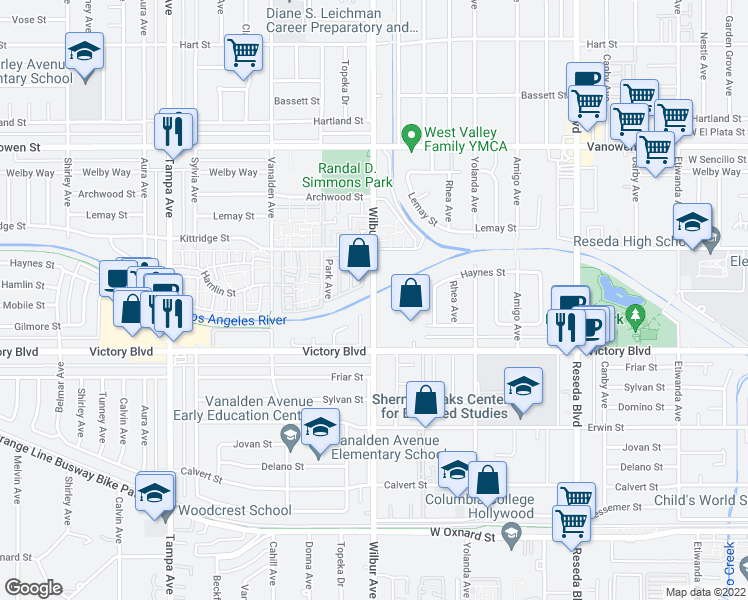 map of restaurants, bars, coffee shops, grocery stores, and more near 6447 Wilbur Avenue in Los Angeles