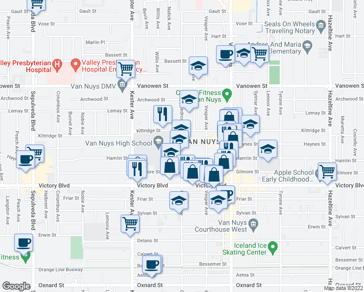 map of restaurants, bars, coffee shops, grocery stores, and more near 6535 Cedros Avenue in Los Angeles