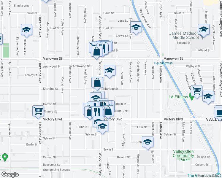 map of restaurants, bars, coffee shops, grocery stores, and more near 6601-6743 Ventura Canyon Ave in Los Angeles