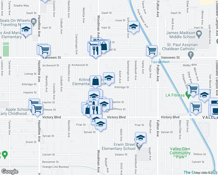 map of restaurants, bars, coffee shops, grocery stores, and more near 6601-6743 Ventura Canyon Avenue in Los Angeles