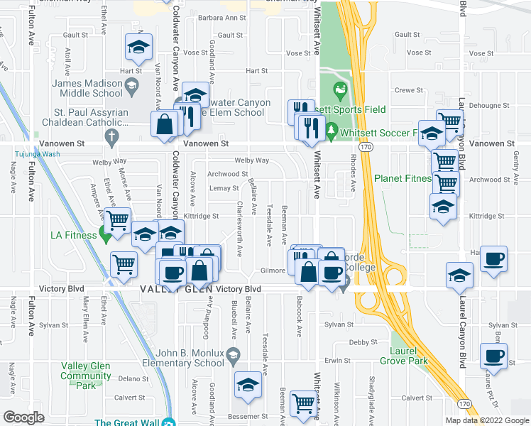 map of restaurants, bars, coffee shops, grocery stores, and more near 6603 Teesdale Ave in Los Angeles
