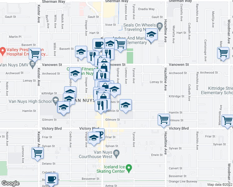 map of restaurants, bars, coffee shops, grocery stores, and more near 6586 Van Nuys Boulevard in Los Angeles