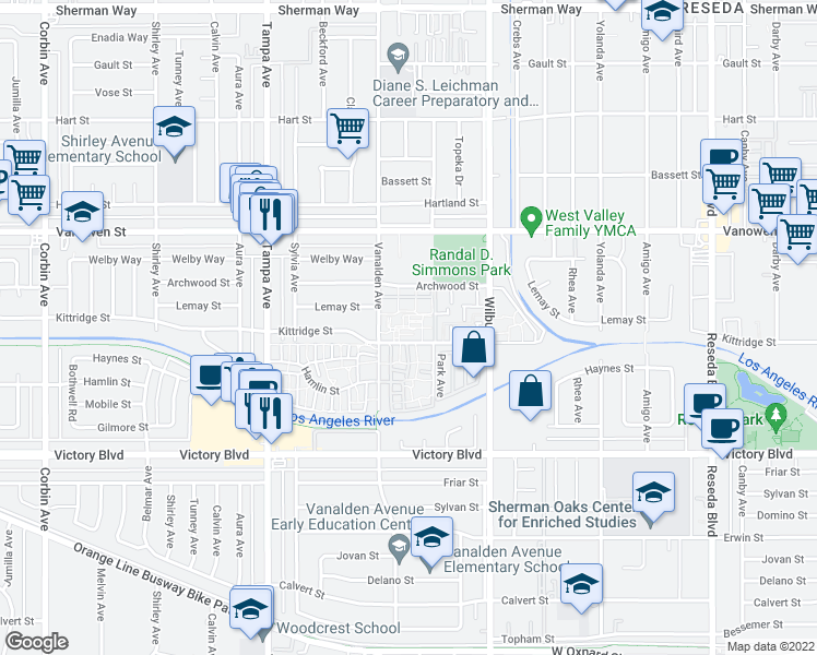 map of restaurants, bars, coffee shops, grocery stores, and more near 6610 Vanalden Avenue in Los Angeles