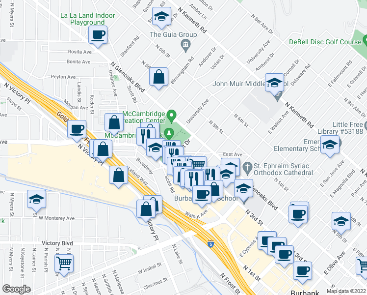 map of restaurants, bars, coffee shops, grocery stores, and more near 230 Amherst Dr in Burbank