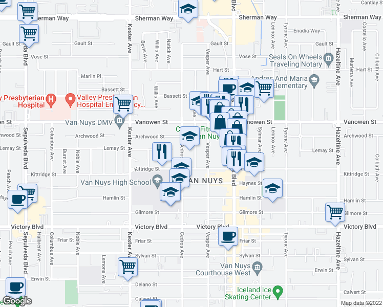 map of restaurants, bars, coffee shops, grocery stores, and more near 6763 Tobias Avenue in Los Angeles