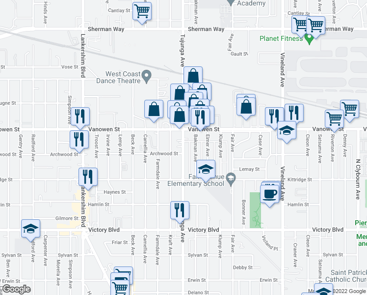 map of restaurants, bars, coffee shops, grocery stores, and more near 6704 Tujunga Avenue in Los Angeles